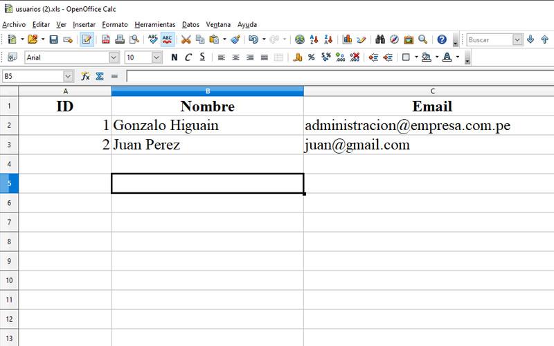 Archivo generado a Excel